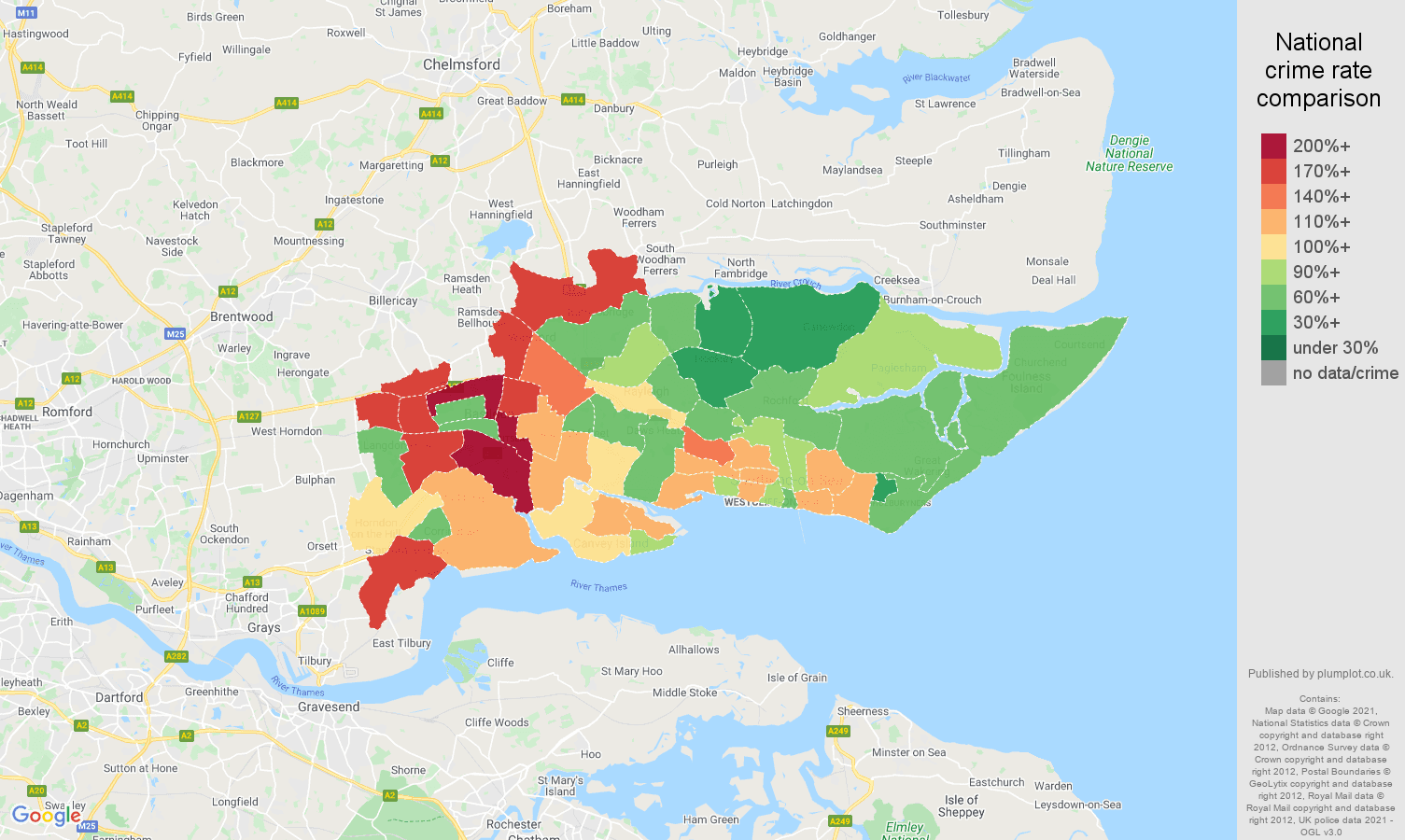 Southend on Sea vehicle crime rate comparison map