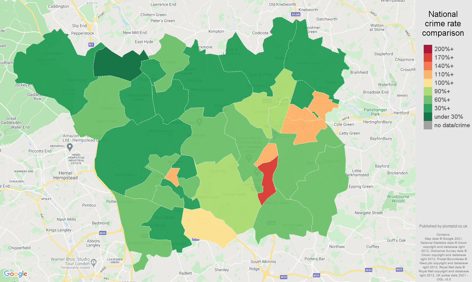 St Albans antisocial behaviour crime rate comparison map