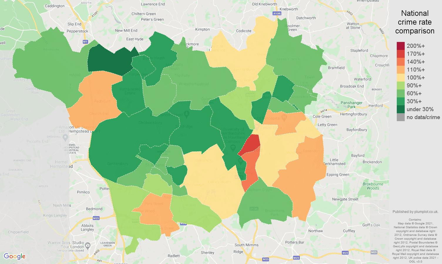 St Albans burglary crime rate comparison map