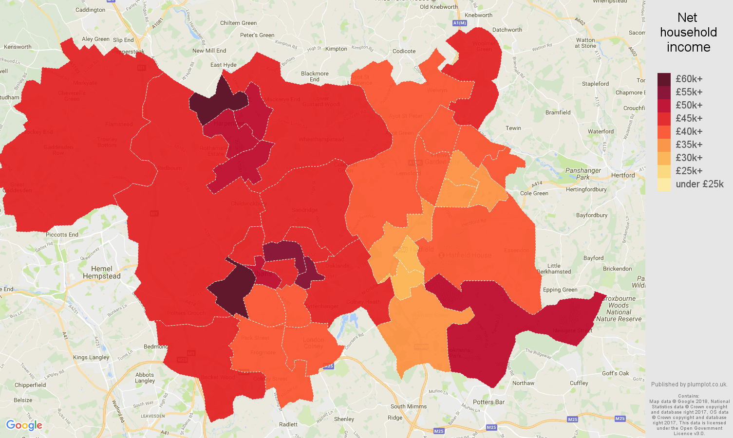 St Albans net household income map