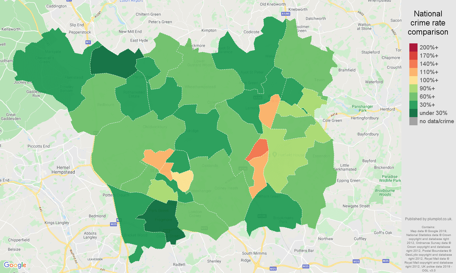 St Albans public order crime rate comparison map
