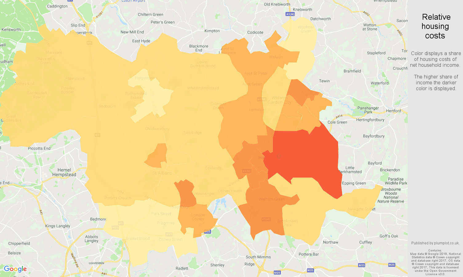 St Albans relative housing costs map