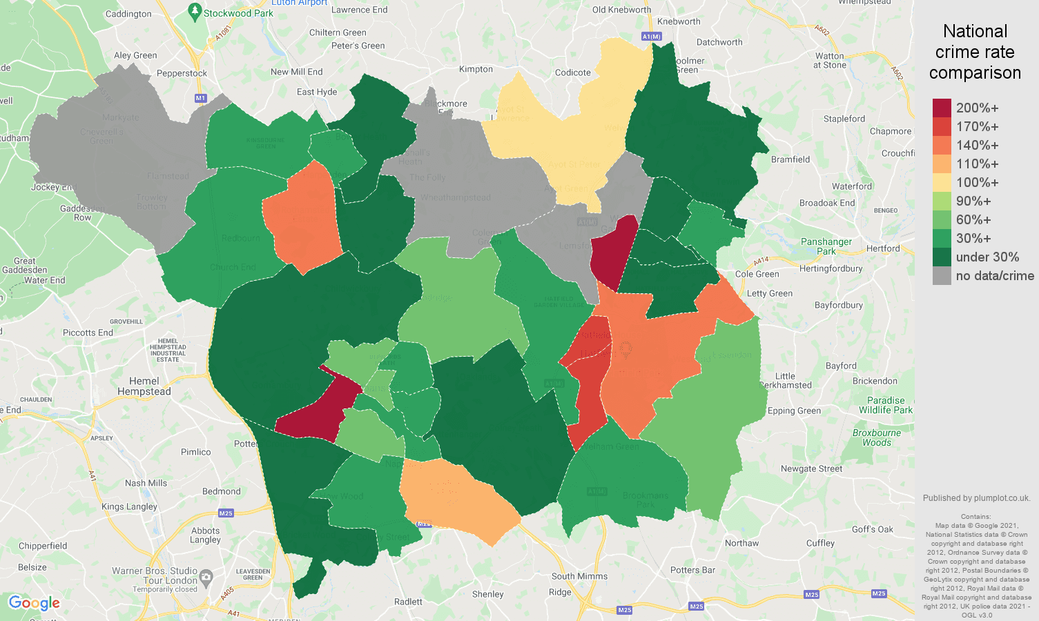 St Albans theft from the person crime rate comparison map