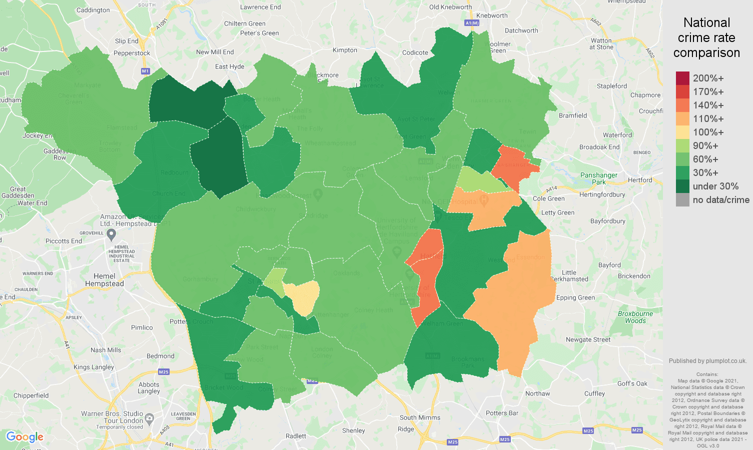 St Albans violent crime rate comparison map