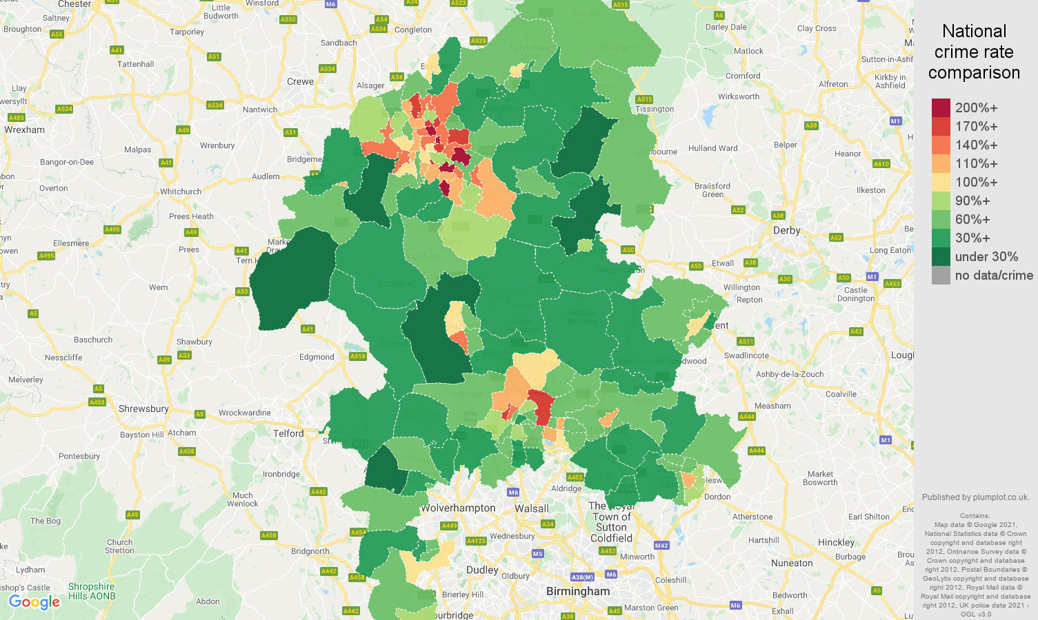 Staffordshire antisocial behaviour crime rate comparison map