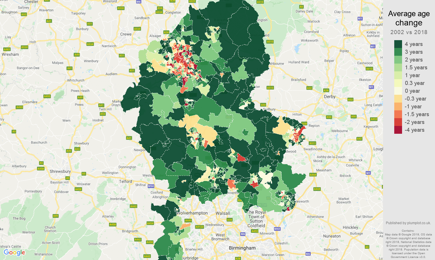 Staffordshire average age change map