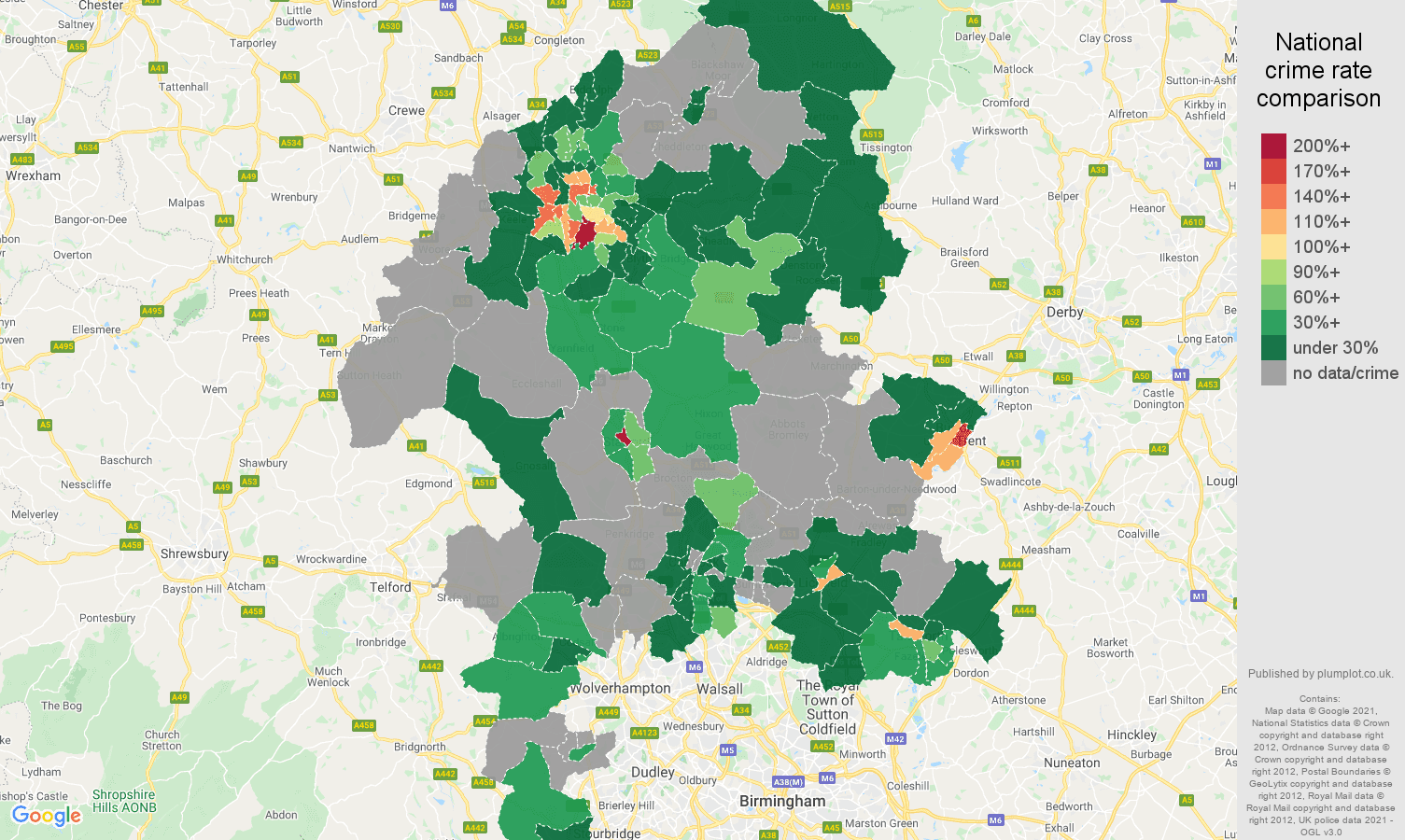 Staffordshire bicycle theft crime rate comparison map