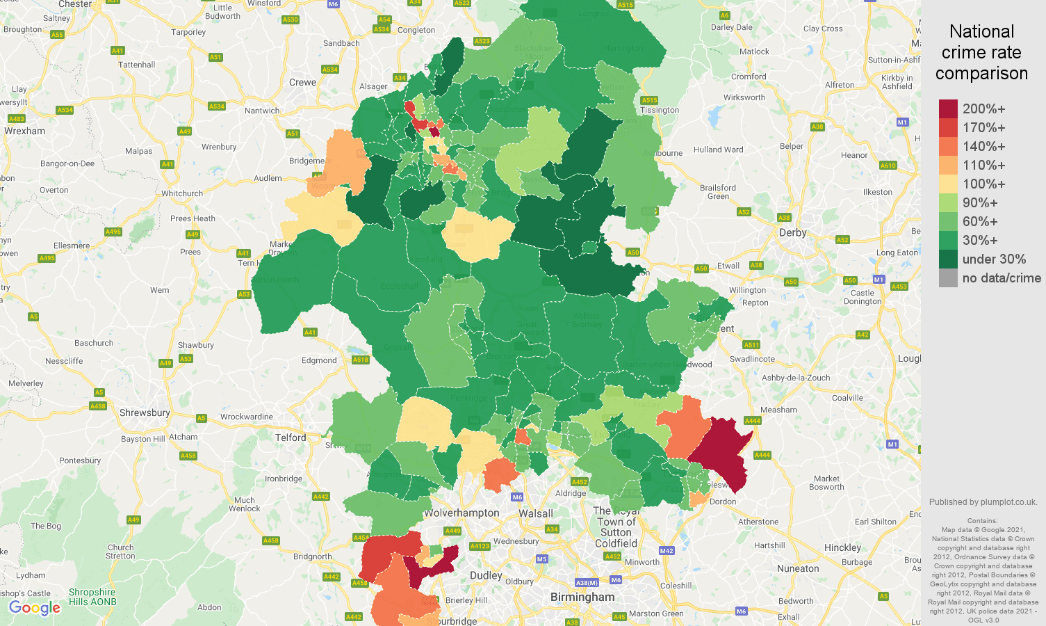 Staffordshire burglary crime rate comparison map