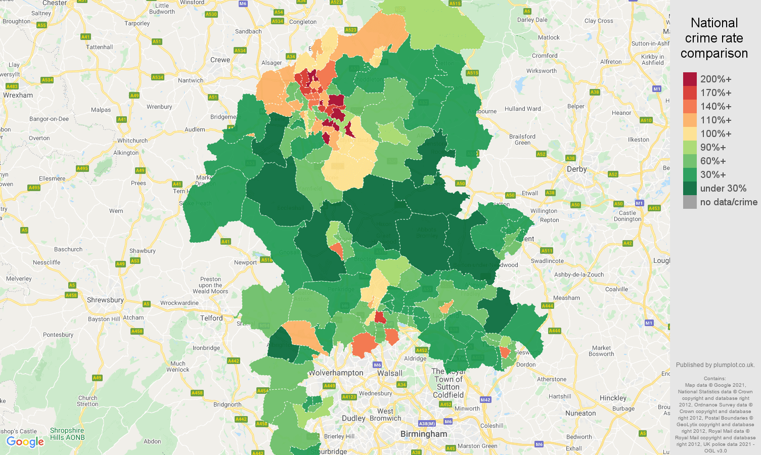 Staffordshire criminal damage and arson crime rate comparison map