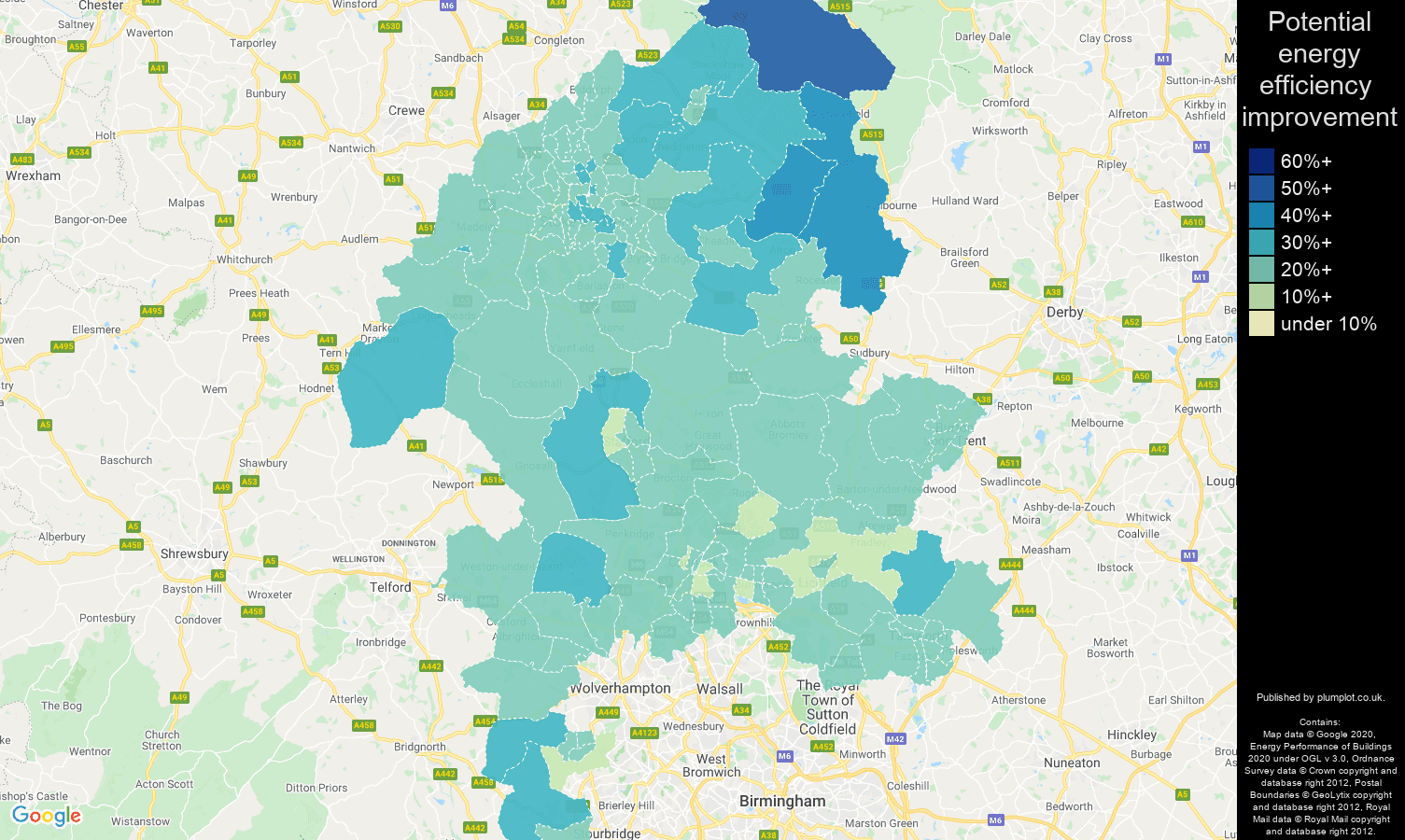 Staffordshire map of potential energy efficiency improvement of houses