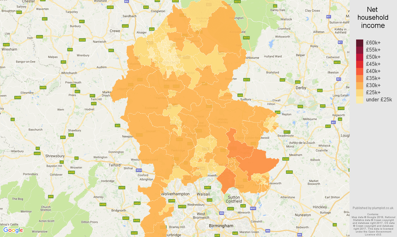 Staffordshire net household income map