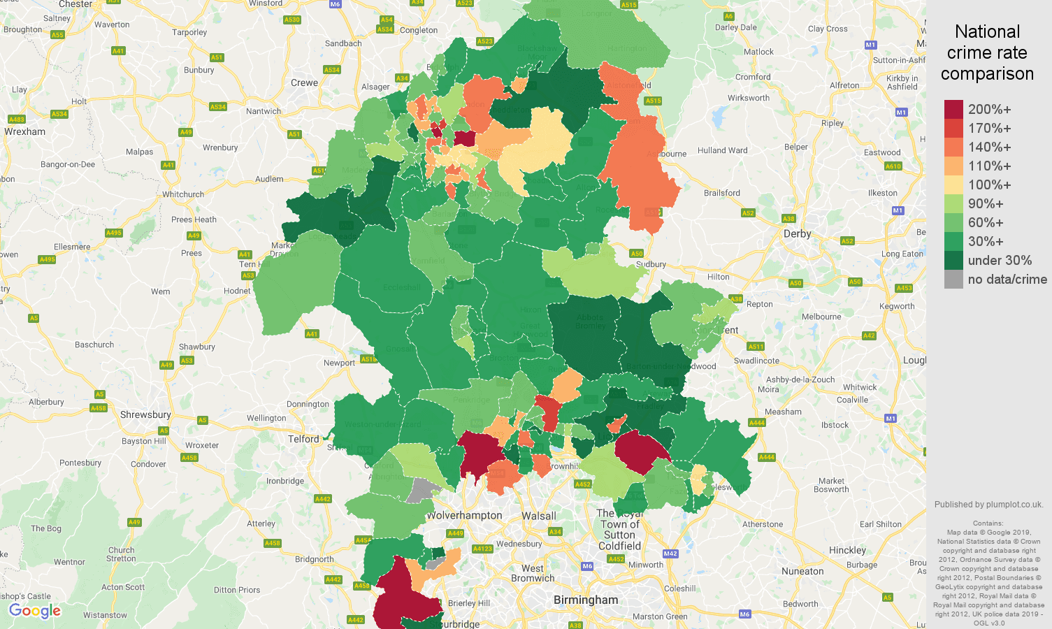 Staffordshire other crime rate comparison map