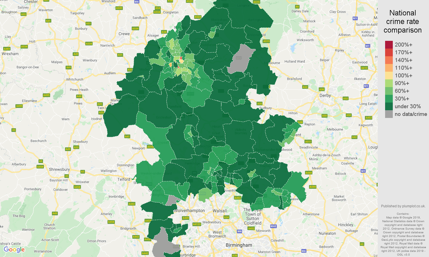Staffordshire public order crime rate comparison map