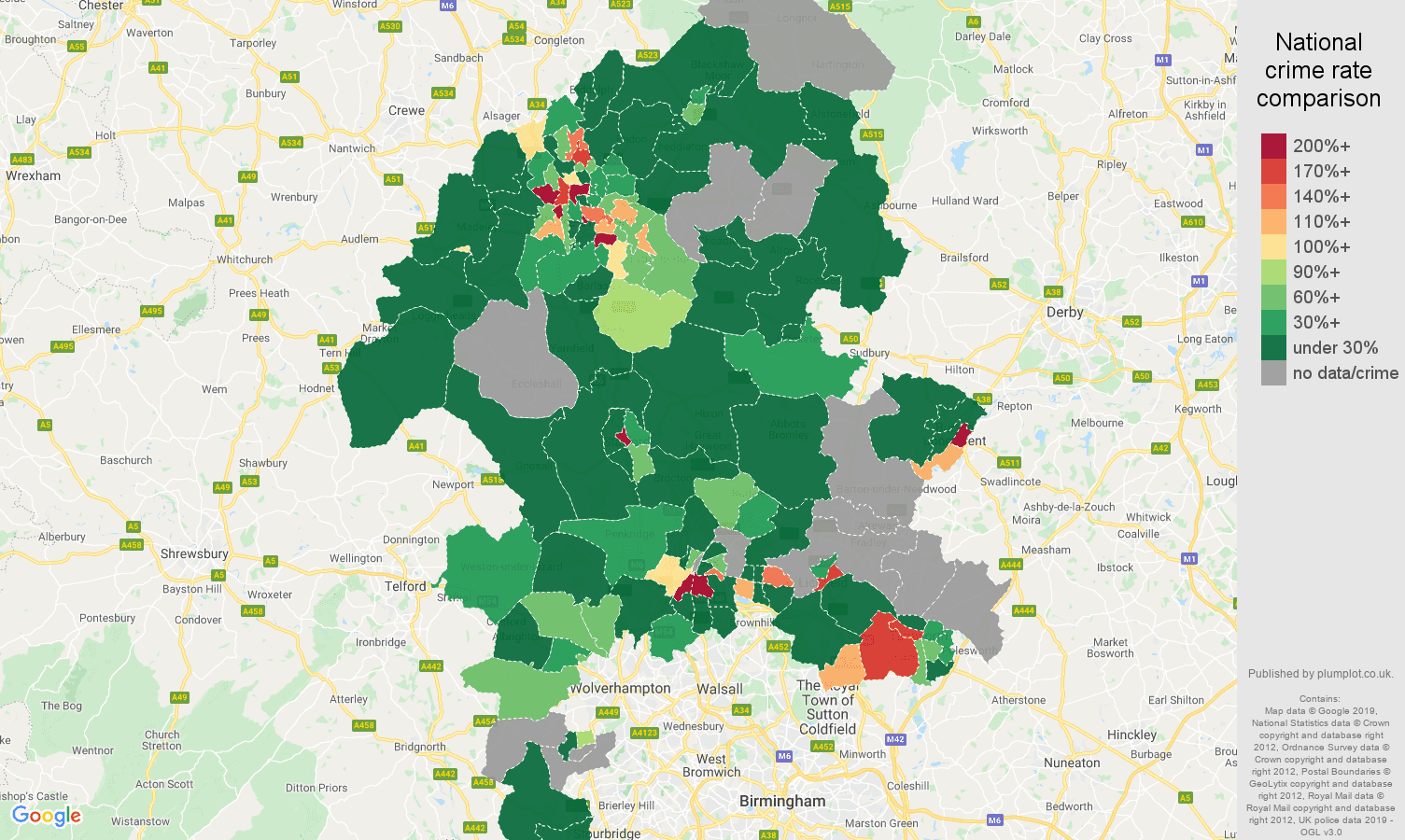 Staffordshire shoplifting crime rate comparison map