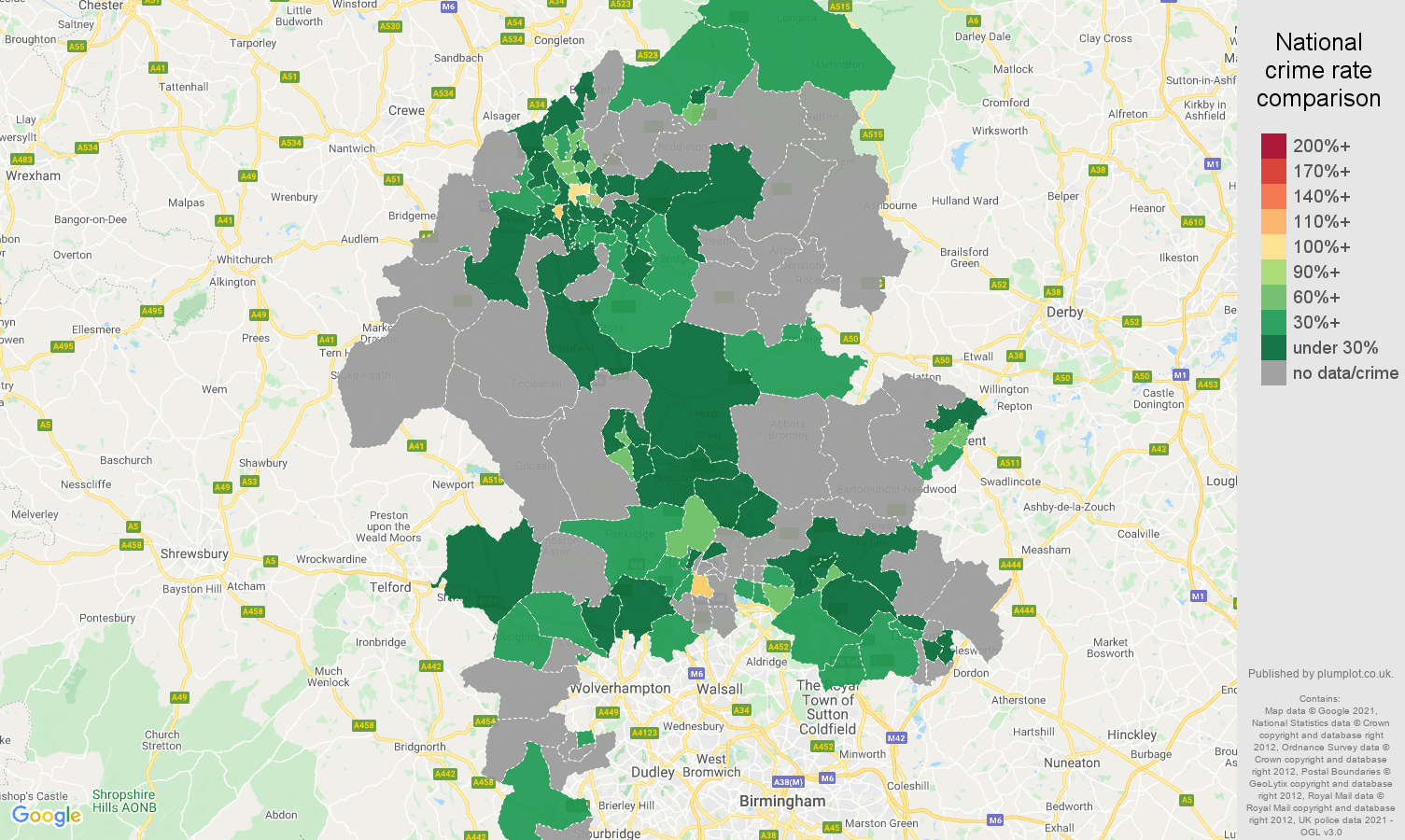 Staffordshire theft from the person crime rate comparison map