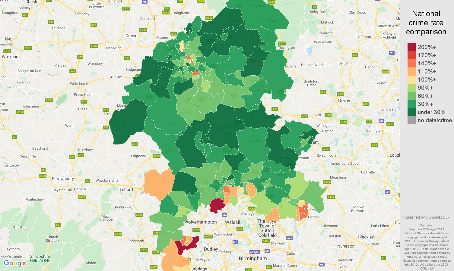 Staffordshire vehicle crime rate comparison map