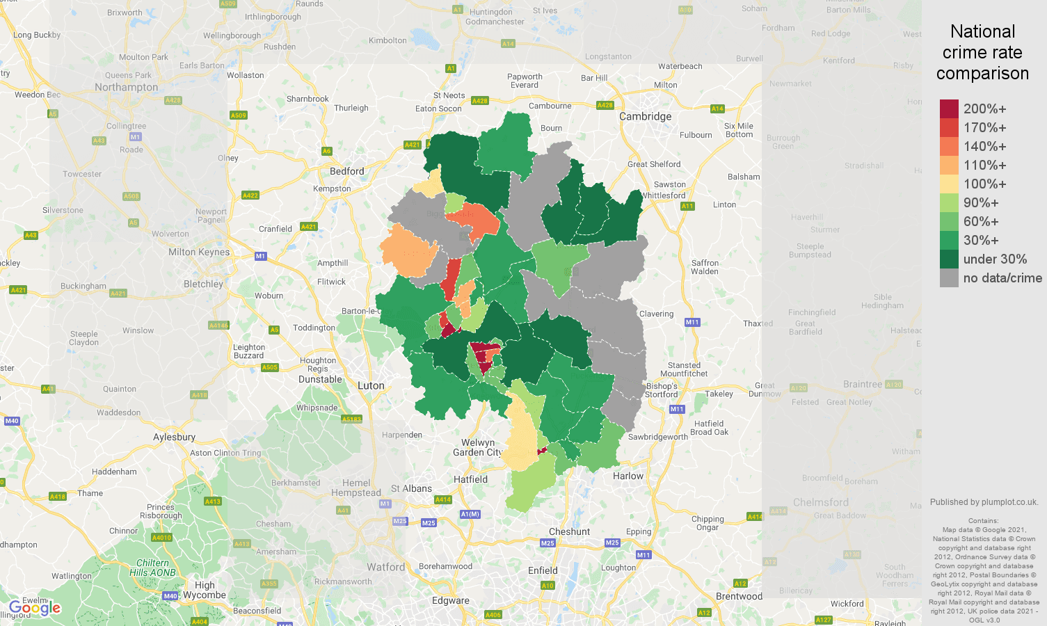 Stevenage bicycle theft crime rate comparison map