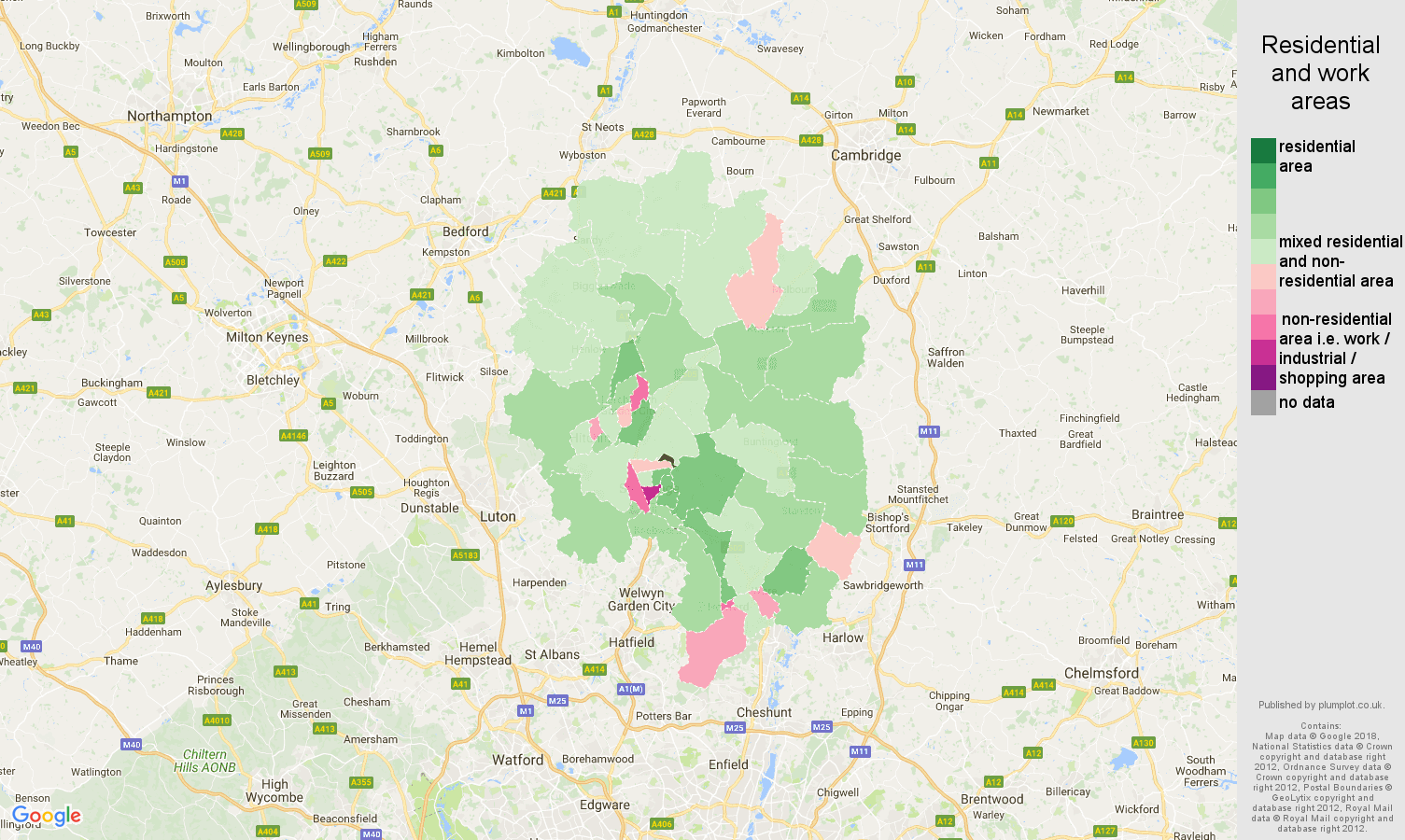 Stevenage residential areas map