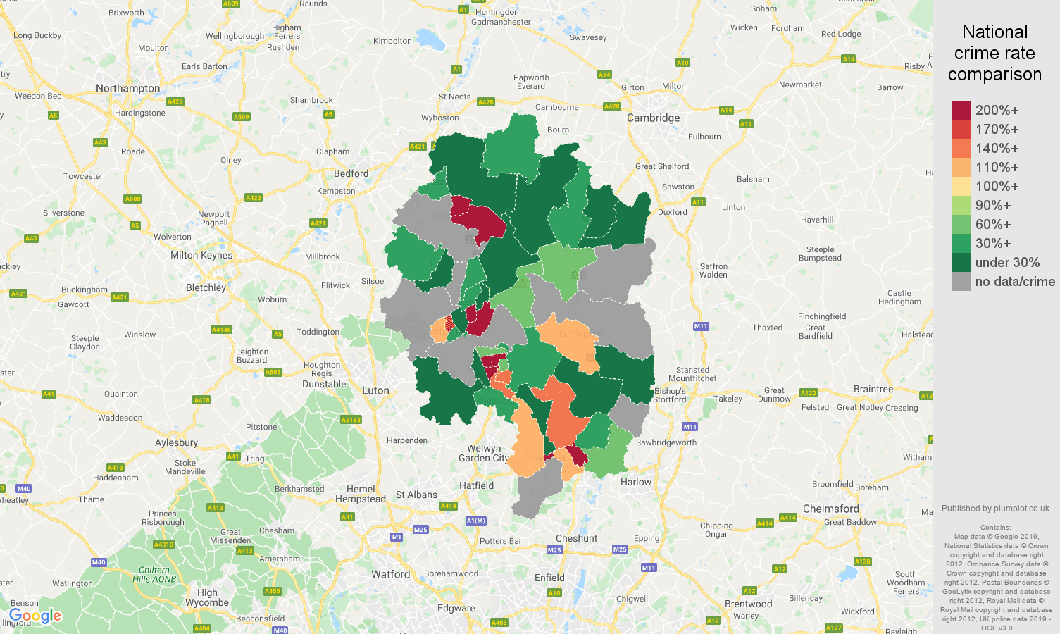 Stevenage shoplifting crime rate comparison map