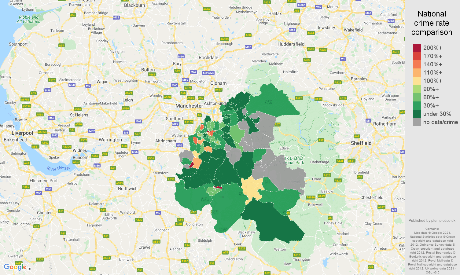 Stockport bicycle theft crime rate comparison map