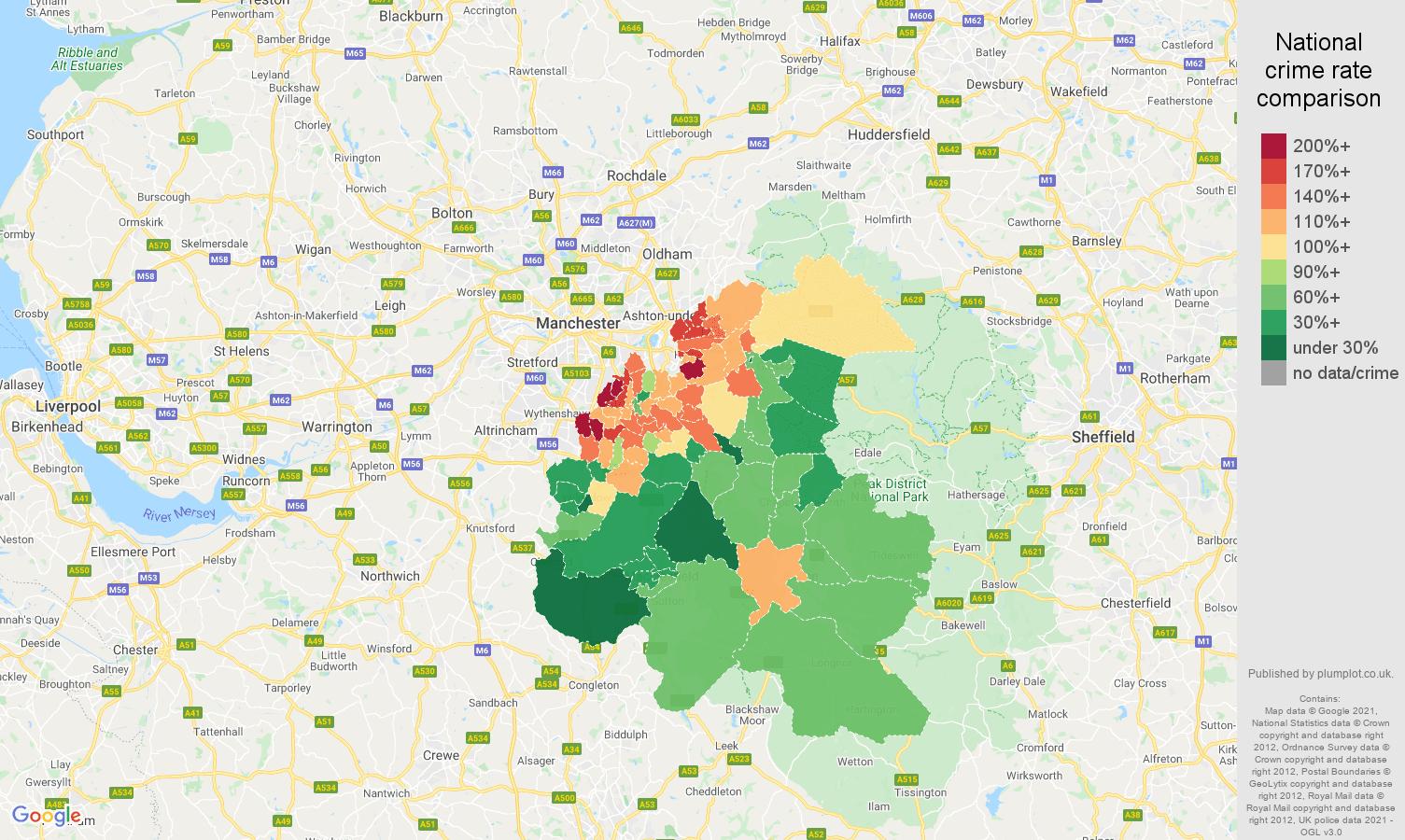 Stockport burglary crime rate comparison map