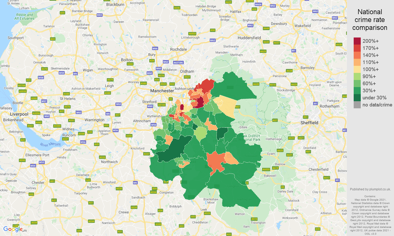 Stockport criminal damage and arson crime rate comparison map