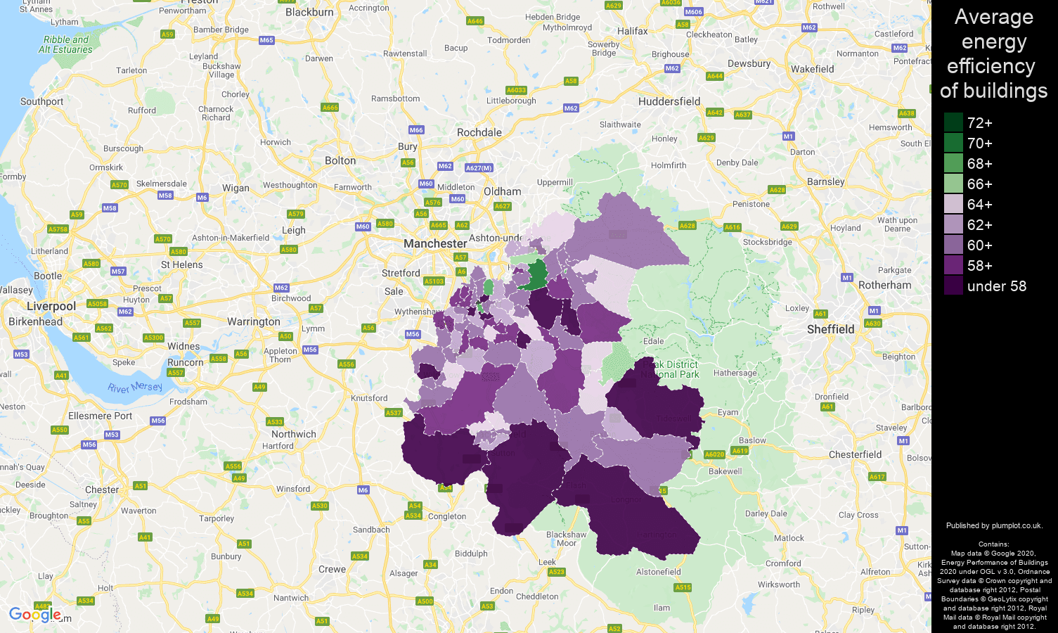 Stockport map of energy efficiency of houses