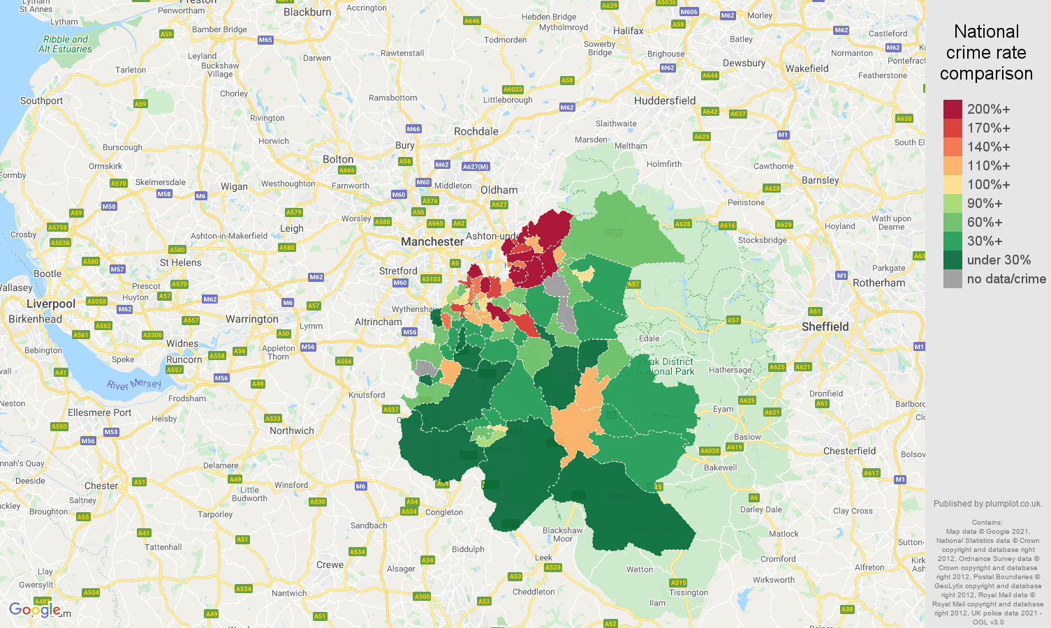 Stockport other crime rate comparison map