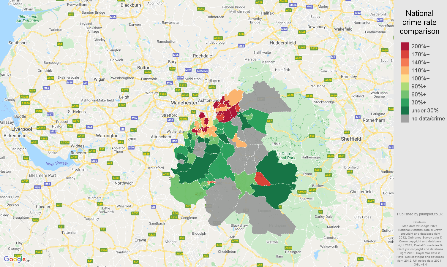 Stockport possession of weapons crime rate comparison map