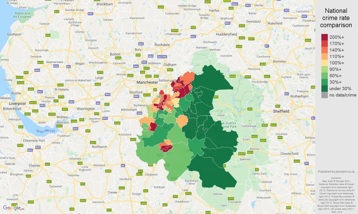 Stockport public order crime rate comparison map
