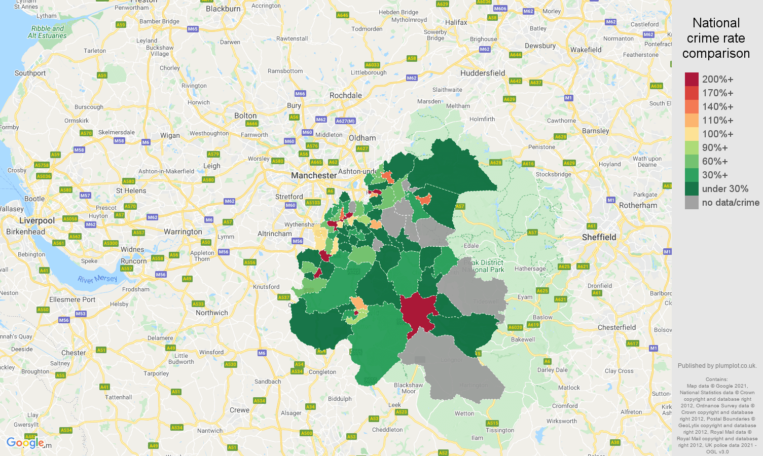 Stockport shoplifting crime rate comparison map