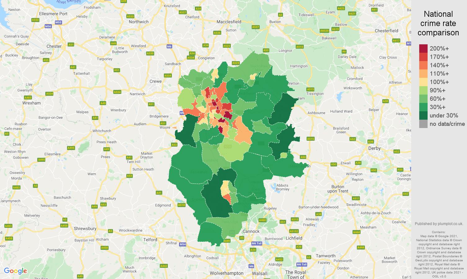 Stoke on Trent antisocial behaviour crime rate comparison map