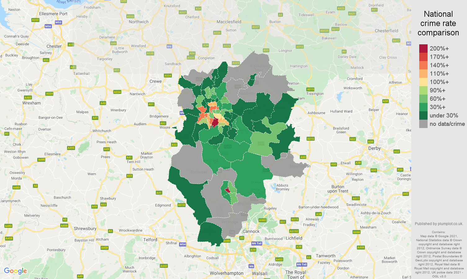 Stoke on Trent bicycle theft crime rate comparison map