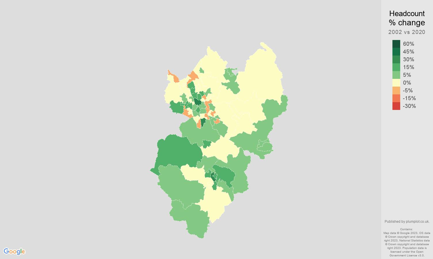 Stoke on Trent headcount change map