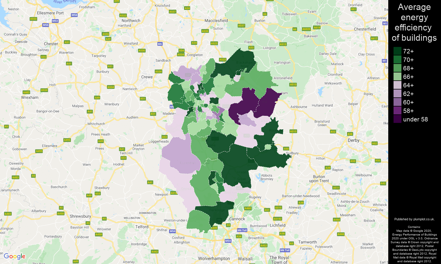 Stoke on Trent map of energy efficiency of flats
