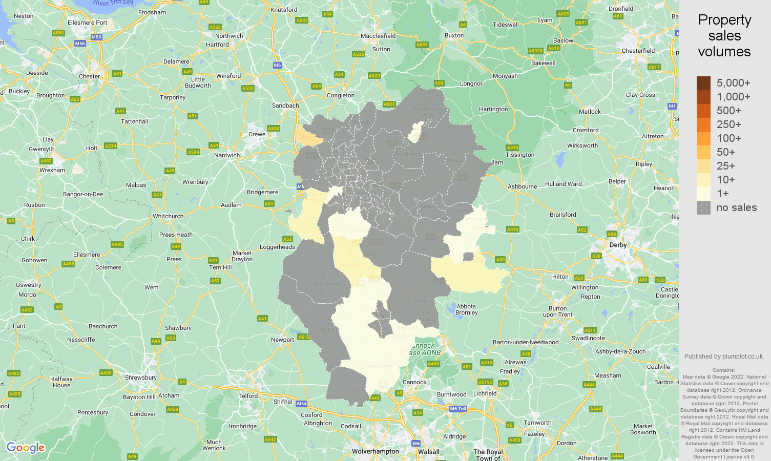 Stoke on Trent map of sales of new properties