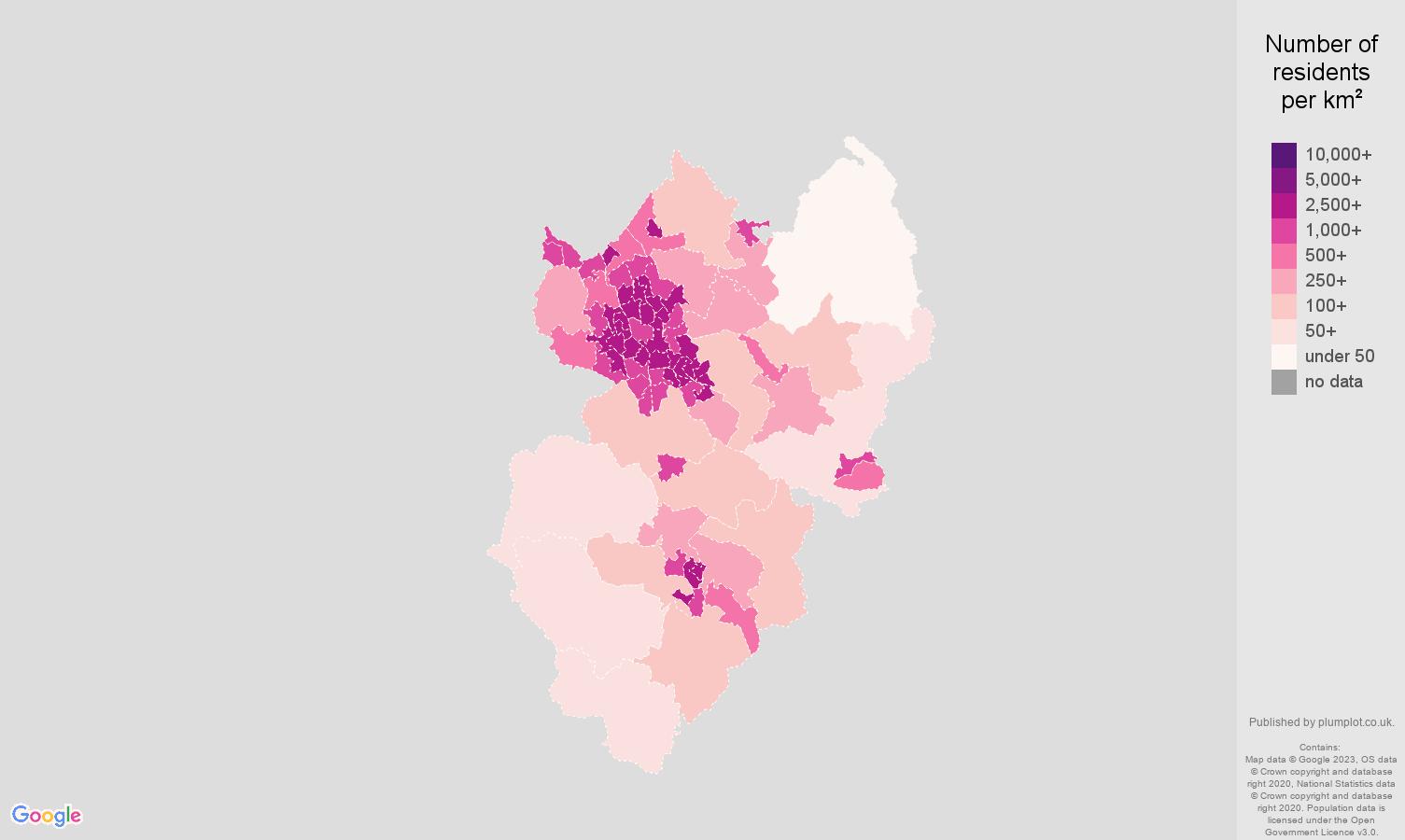 Stoke on Trent population density map
