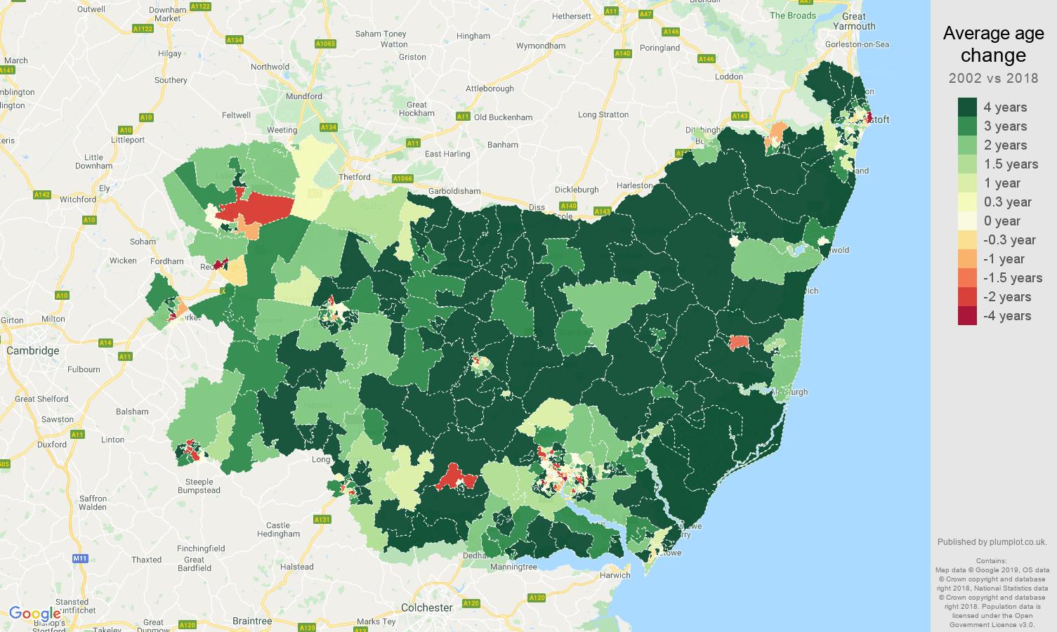 Suffolk average age change map