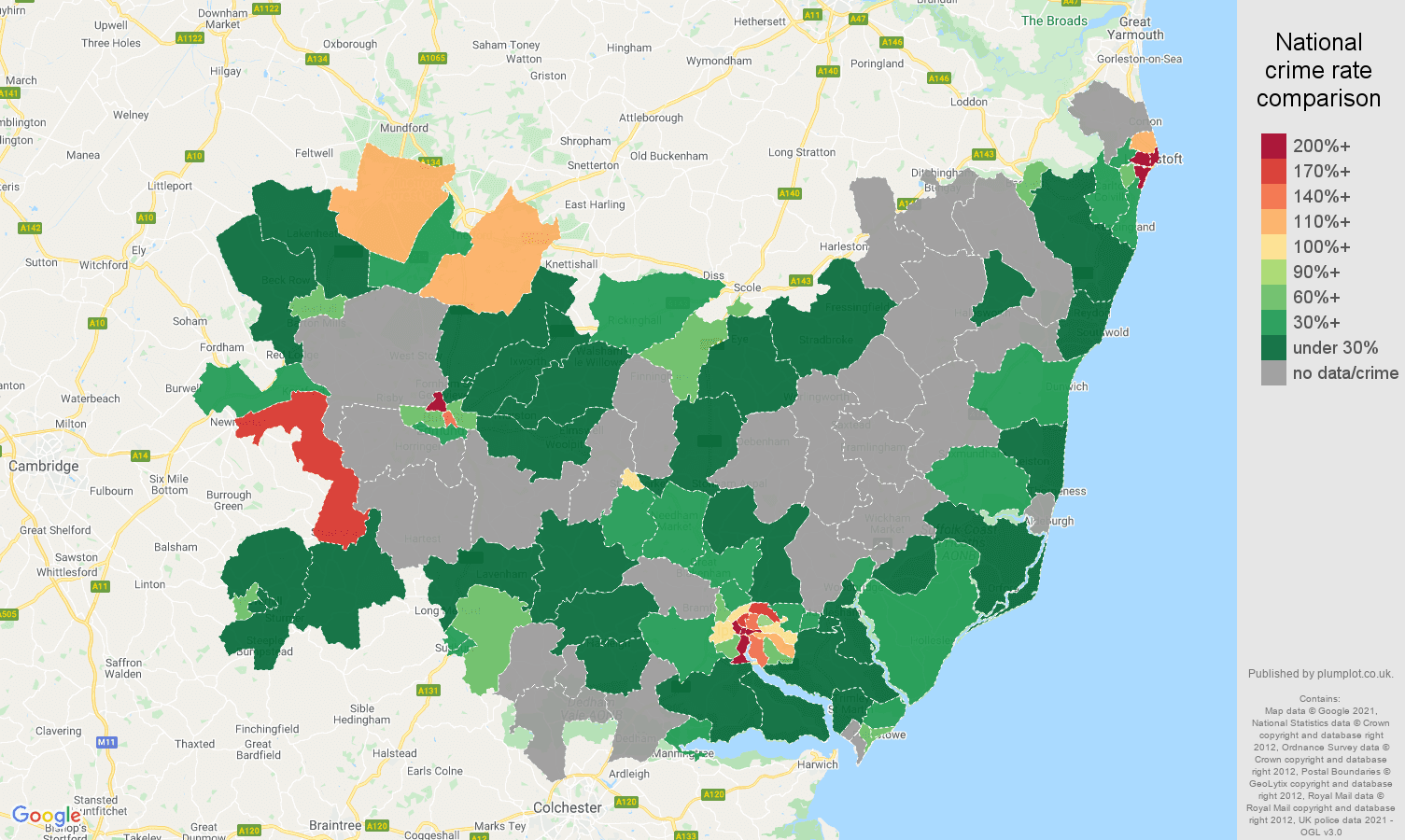 Suffolk bicycle theft crime rate comparison map