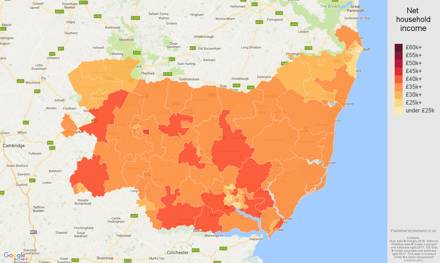 Suffolk net household income map