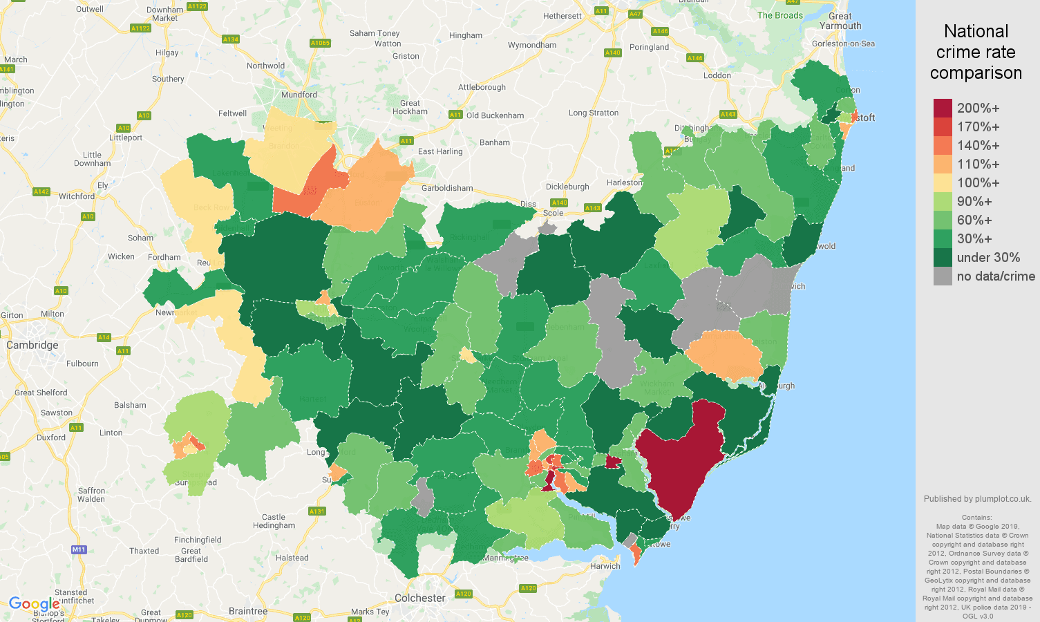 Suffolk other crime rate comparison map