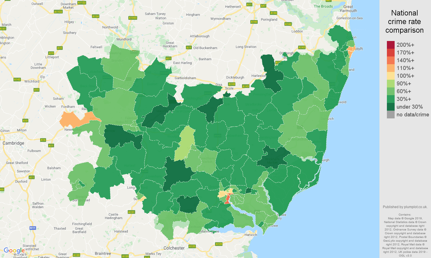 Suffolk other theft crime rate comparison map