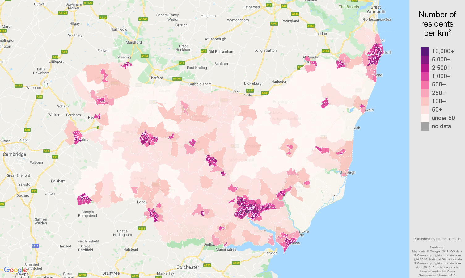 Suffolk population density map