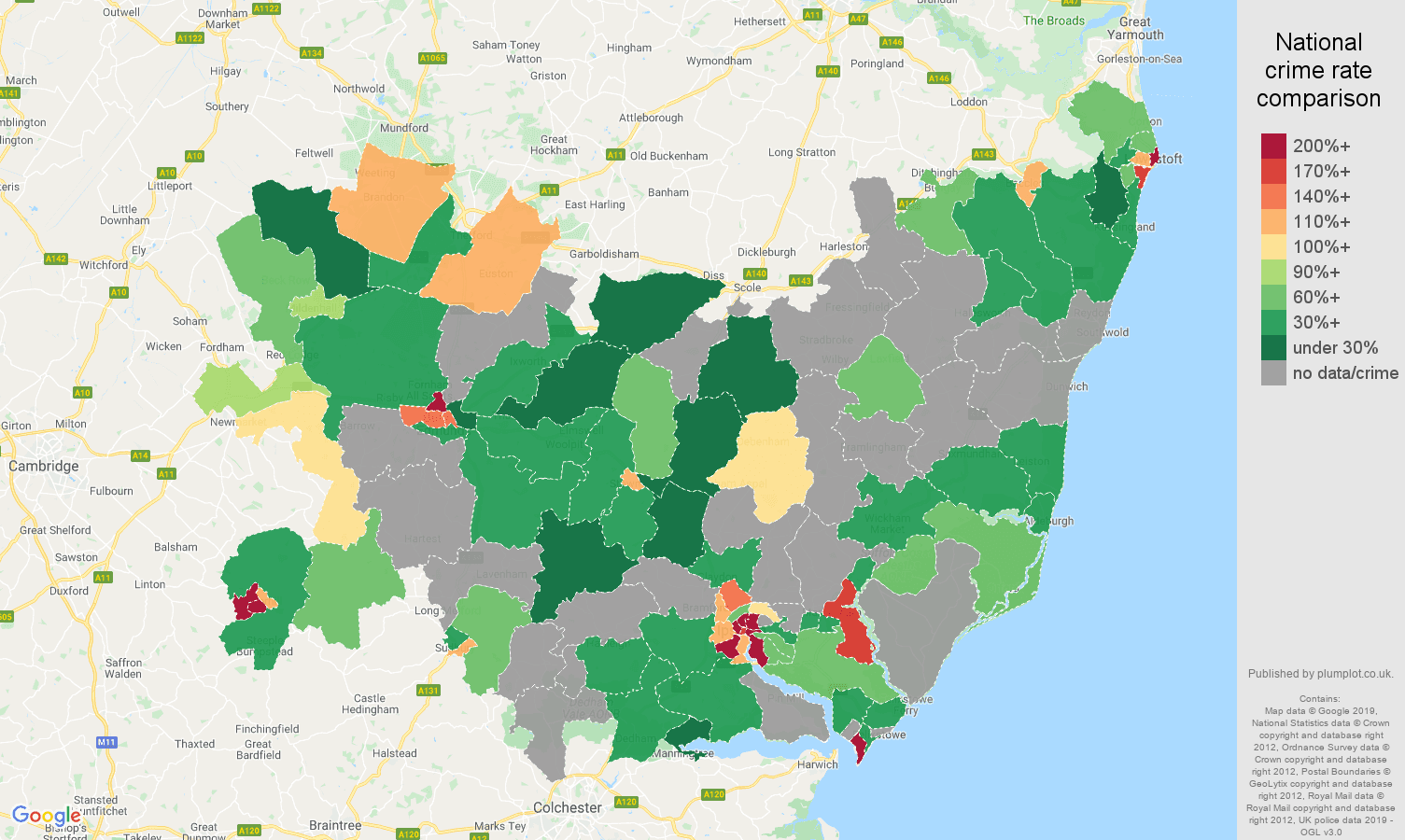 Suffolk possession of weapons crime rate comparison map