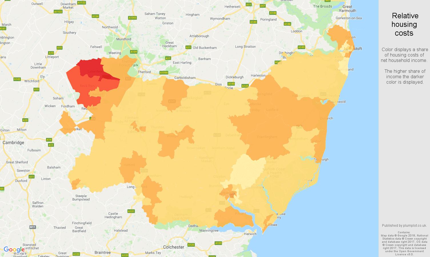 Suffolk relative housing costs map
