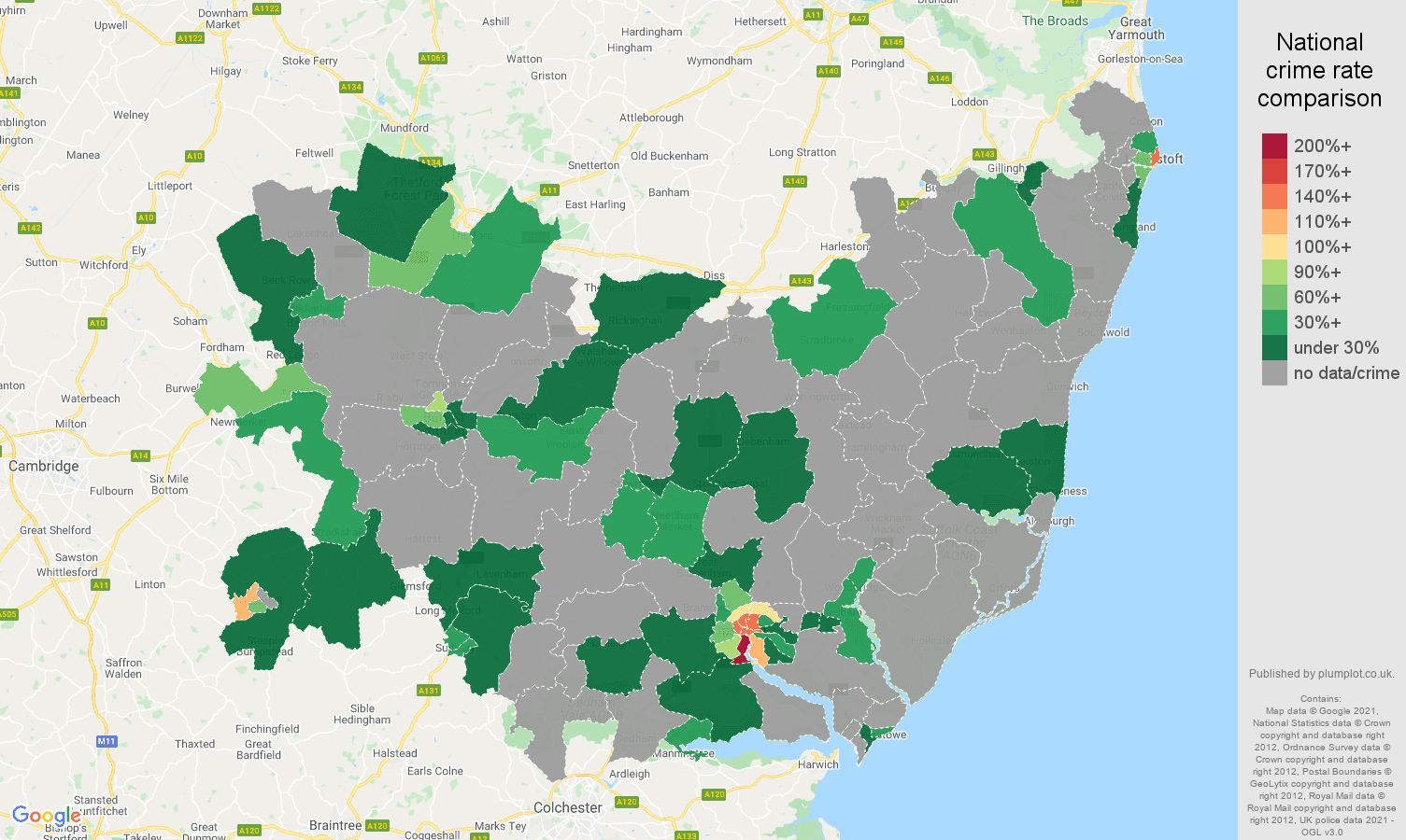 Suffolk robbery crime rate comparison map