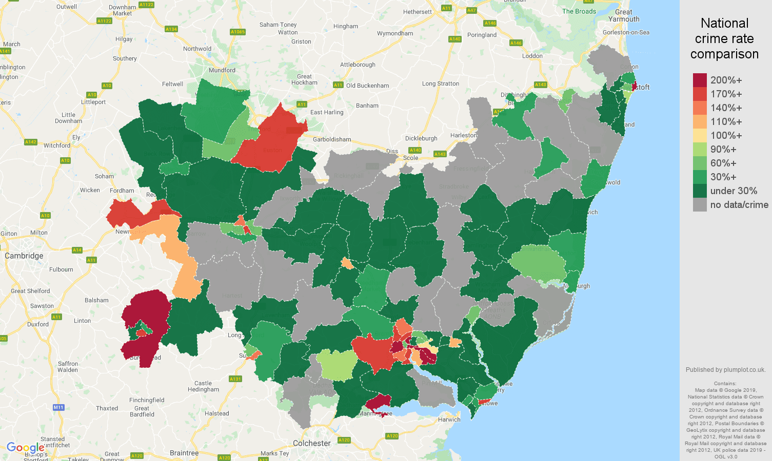Suffolk shoplifting crime rate comparison map