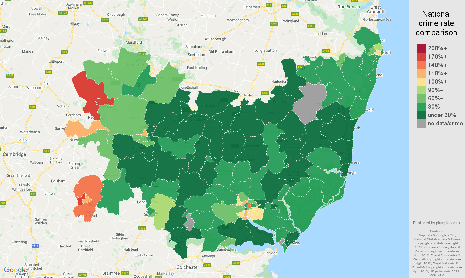 Suffolk vehicle crime rate comparison map