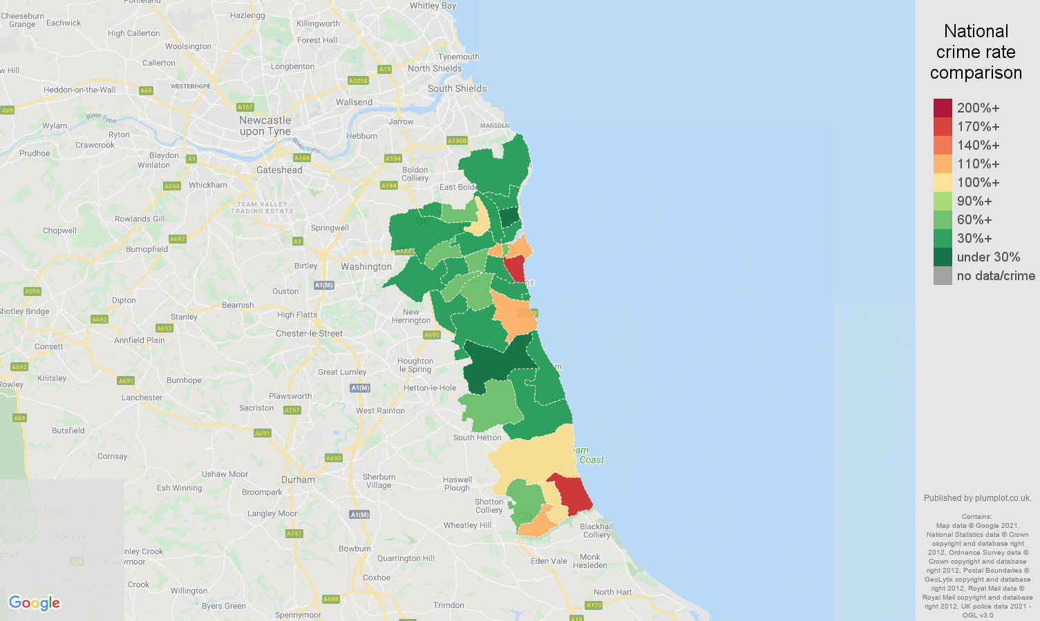 Sunderland drugs crime rate comparison map