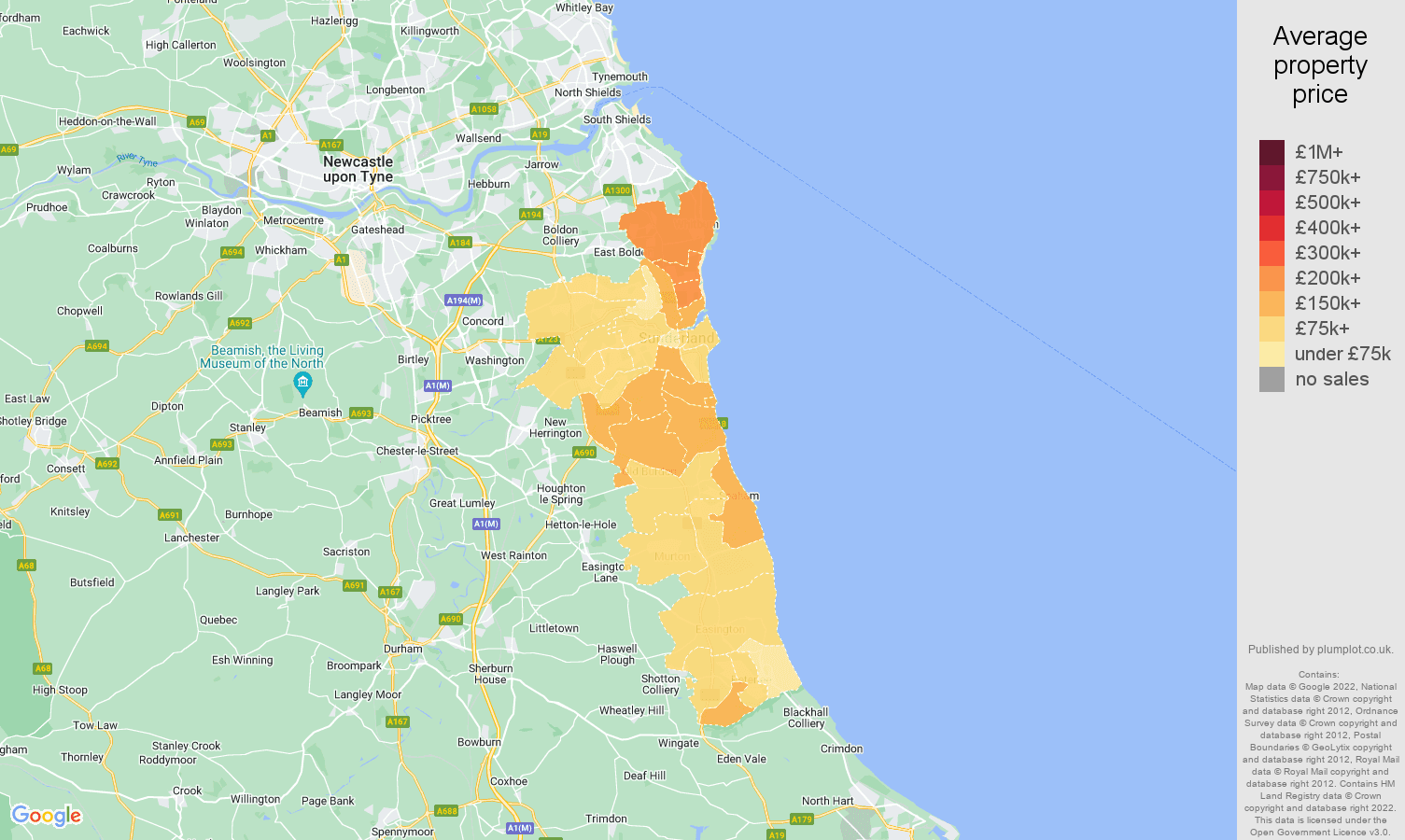 Sunderland house prices map